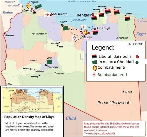 mappa Libia tra lealisti e insorti
